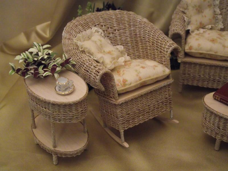 Miniature Dollhouse Wicker Patio Rocker By Uncle Ciggie Click To Enlarge
