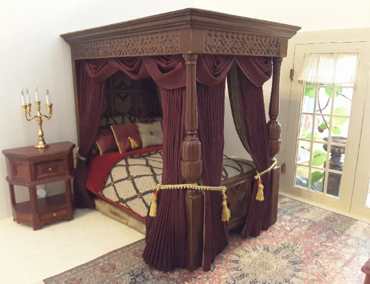 Dollhouse Miniature Tudor Canopy Bed 375 00 Dollhouse Linens And More Custom Made Dollhouse Drapes And Beds